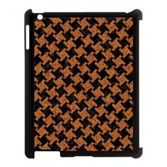 HOUNDSTOOTH2 BLACK MARBLE & RUSTED METAL Apple iPad 3/4 Case (Black)