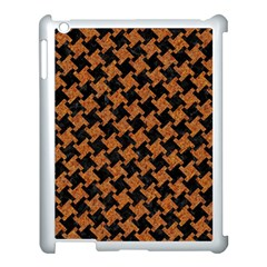 HOUNDSTOOTH2 BLACK MARBLE & RUSTED METAL Apple iPad 3/4 Case (White)