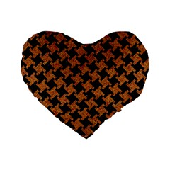 HOUNDSTOOTH2 BLACK MARBLE & RUSTED METAL Standard 16  Premium Heart Shape Cushions