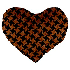HOUNDSTOOTH2 BLACK MARBLE & RUSTED METAL Large 19  Premium Heart Shape Cushions
