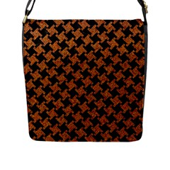 HOUNDSTOOTH2 BLACK MARBLE & RUSTED METAL Flap Messenger Bag (L)