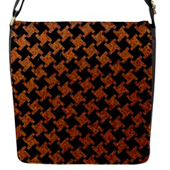 HOUNDSTOOTH2 BLACK MARBLE & RUSTED METAL Flap Messenger Bag (S)