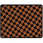 HOUNDSTOOTH2 BLACK MARBLE & RUSTED METAL Double Sided Fleece Blanket (Medium)  58.8 x47.4 Blanket Front