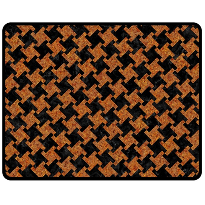 HOUNDSTOOTH2 BLACK MARBLE & RUSTED METAL Double Sided Fleece Blanket (Medium)