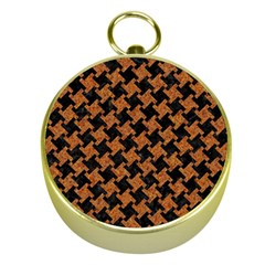 HOUNDSTOOTH2 BLACK MARBLE & RUSTED METAL Gold Compasses