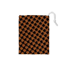 HOUNDSTOOTH2 BLACK MARBLE & RUSTED METAL Drawstring Pouches (Small)