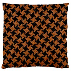 HOUNDSTOOTH2 BLACK MARBLE & RUSTED METAL Large Flano Cushion Case (One Side)