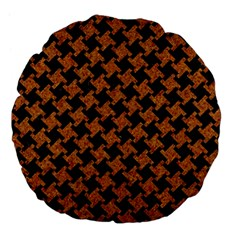 HOUNDSTOOTH2 BLACK MARBLE & RUSTED METAL Large 18  Premium Flano Round Cushions