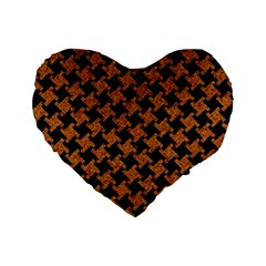 Houndstooth2 Black Marble & Rusted Metal Standard 16  Premium Flano Heart Shape Cushions by trendistuff