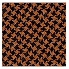 HOUNDSTOOTH2 BLACK MARBLE & RUSTED METAL Large Satin Scarf (Square)