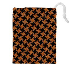 HOUNDSTOOTH2 BLACK MARBLE & RUSTED METAL Drawstring Pouches (XXL)