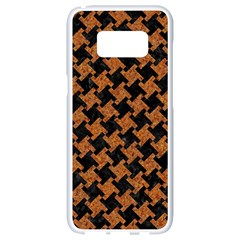 HOUNDSTOOTH2 BLACK MARBLE & RUSTED METAL Samsung Galaxy S8 White Seamless Case