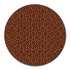 Hexagon1 Black Marble & Rusted Metal Round Mousepads by trendistuff