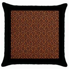Hexagon1 Black Marble & Rusted Metal Throw Pillow Case (black) by trendistuff