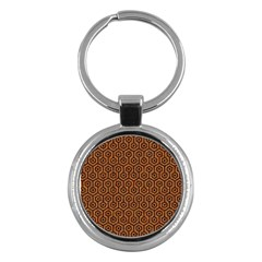 Hexagon1 Black Marble & Rusted Metal Key Chains (round)  by trendistuff