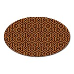 HEXAGON1 BLACK MARBLE & RUSTED METAL Oval Magnet Front