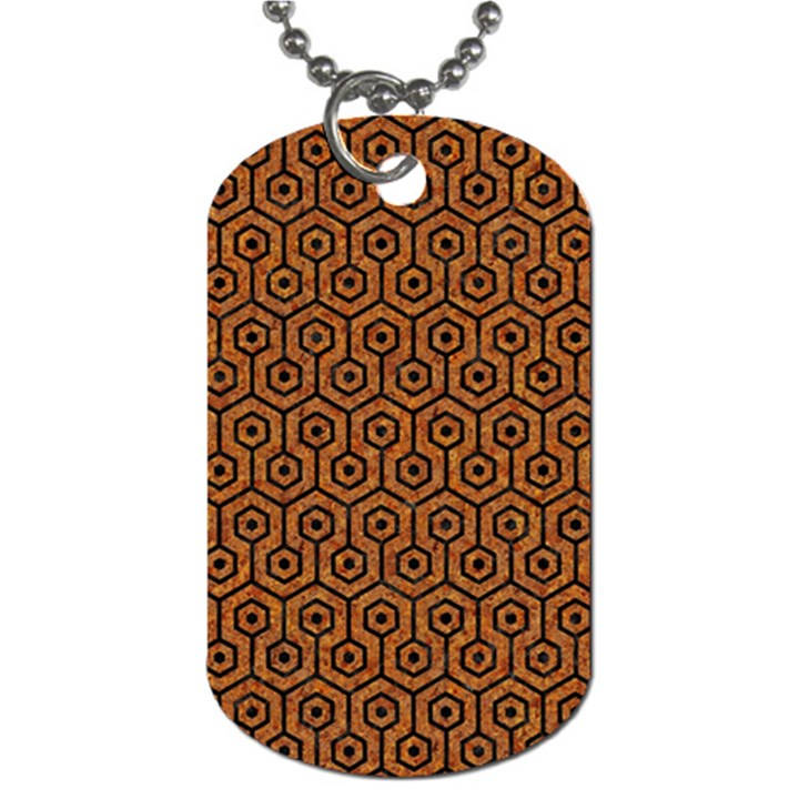HEXAGON1 BLACK MARBLE & RUSTED METAL Dog Tag (Two Sides)