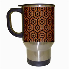 Hexagon1 Black Marble & Rusted Metal Travel Mugs (white) by trendistuff