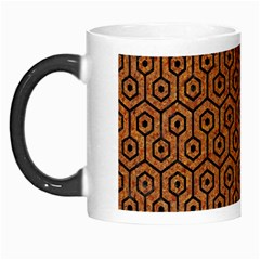 Hexagon1 Black Marble & Rusted Metal Morph Mugs by trendistuff