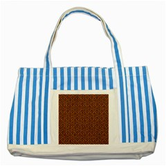 Hexagon1 Black Marble & Rusted Metal Striped Blue Tote Bag by trendistuff