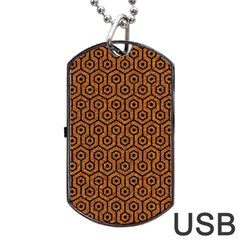 Hexagon1 Black Marble & Rusted Metal Dog Tag Usb Flash (one Side)