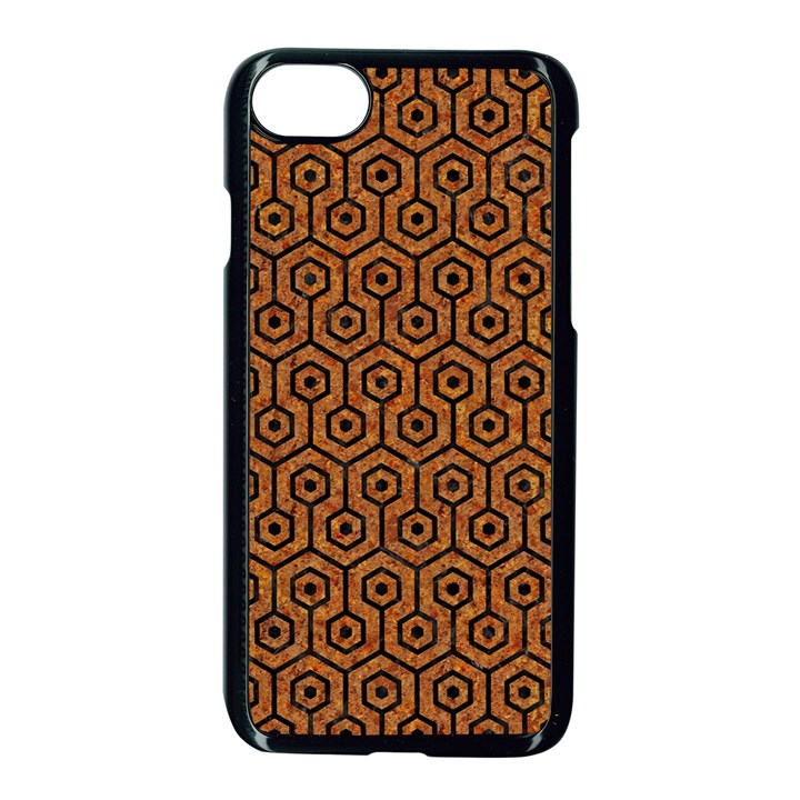 HEXAGON1 BLACK MARBLE & RUSTED METAL Apple iPhone 7 Seamless Case (Black)