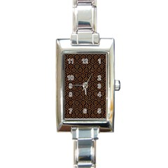 Hexagon1 Black Marble & Rusted Metal (r) Rectangle Italian Charm Watch by trendistuff