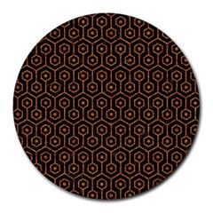 Hexagon1 Black Marble & Rusted Metal (r) Round Mousepads by trendistuff