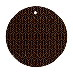 HEXAGON1 BLACK MARBLE & RUSTED METAL (R) Ornament (Round) Front