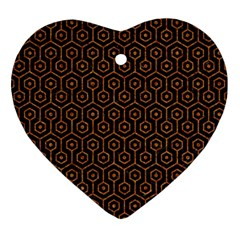 Hexagon1 Black Marble & Rusted Metal (r) Ornament (heart) by trendistuff