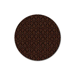 Hexagon1 Black Marble & Rusted Metal (r) Rubber Coaster (round)