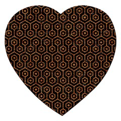 Hexagon1 Black Marble & Rusted Metal (r) Jigsaw Puzzle (heart) by trendistuff