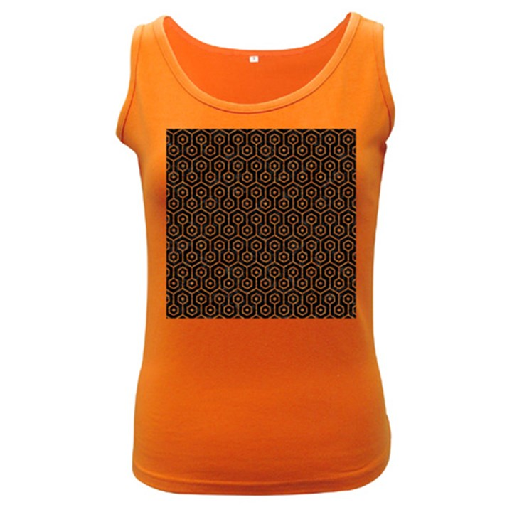 HEXAGON1 BLACK MARBLE & RUSTED METAL (R) Women s Dark Tank Top