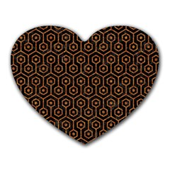 Hexagon1 Black Marble & Rusted Metal (r) Heart Mousepads by trendistuff