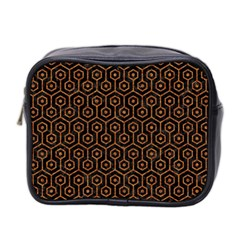 Hexagon1 Black Marble & Rusted Metal (r) Mini Toiletries Bag 2 Side