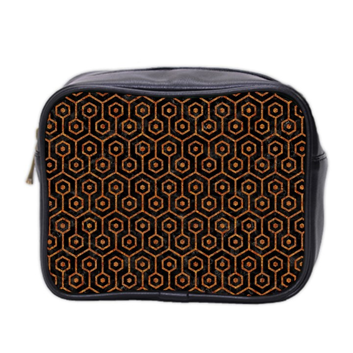 HEXAGON1 BLACK MARBLE & RUSTED METAL (R) Mini Toiletries Bag 2-Side