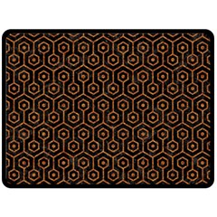 Hexagon1 Black Marble & Rusted Metal (r) Fleece Blanket (large)  by trendistuff