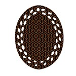 HEXAGON1 BLACK MARBLE & RUSTED METAL (R) Oval Filigree Ornament (Two Sides) Back