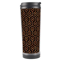 Hexagon1 Black Marble & Rusted Metal (r) Travel Tumbler