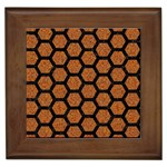HEXAGON2 BLACK MARBLE & RUSTED METAL Framed Tiles Front