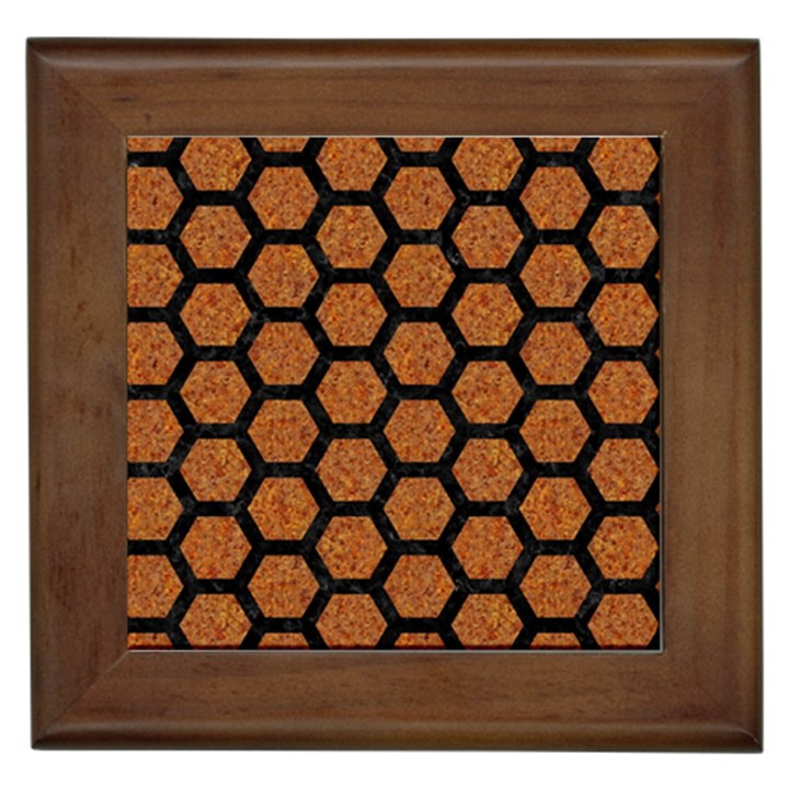 HEXAGON2 BLACK MARBLE & RUSTED METAL Framed Tiles