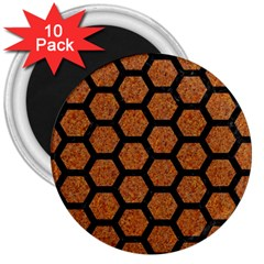 Hexagon2 Black Marble & Rusted Metal 3  Magnets (10 Pack)  by trendistuff