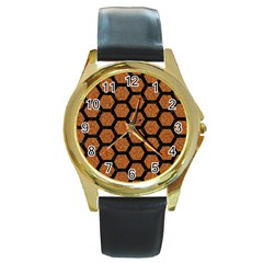 Hexagon2 Black Marble & Rusted Metal Round Gold Metal Watch by trendistuff