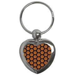 Hexagon2 Black Marble & Rusted Metal Key Chains (heart)  by trendistuff