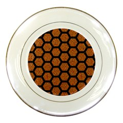 Hexagon2 Black Marble & Rusted Metal Porcelain Plates by trendistuff