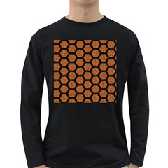 Hexagon2 Black Marble & Rusted Metal Long Sleeve Dark T Shirts