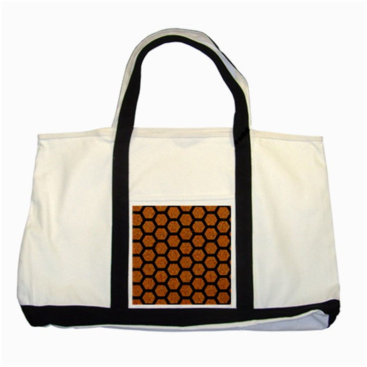 HEXAGON2 BLACK MARBLE & RUSTED METAL Two Tone Tote Bag