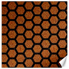 Hexagon2 Black Marble & Rusted Metal Canvas 16  X 16   by trendistuff