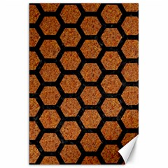 Hexagon2 Black Marble & Rusted Metal Canvas 20  X 30   by trendistuff
