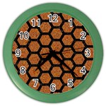 HEXAGON2 BLACK MARBLE & RUSTED METAL Color Wall Clocks Front